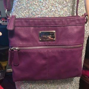 Purple leather cross body Nine west purse